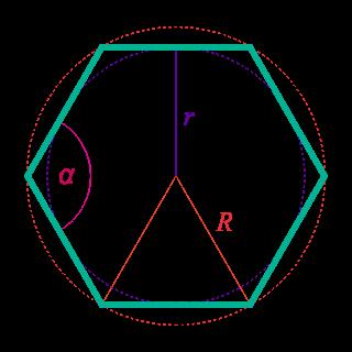 Угол между сторонами правильного шестиугольника